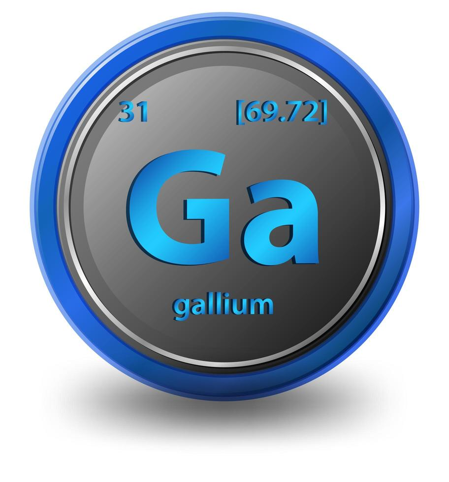 élément chimique de gallium. symbole chimique avec numéro atomique et masse atomique. vecteur
