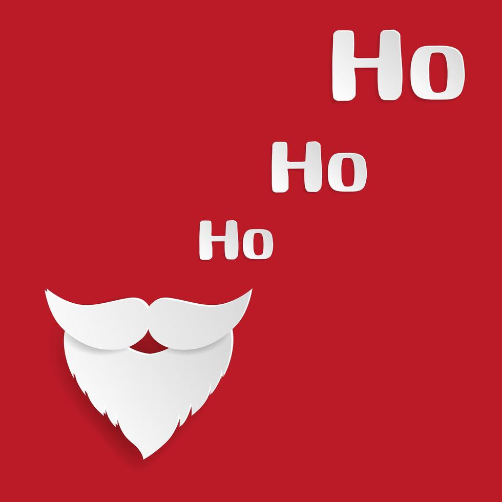 papier art santa moustache et ho-ho-ho sur rouge vecteur