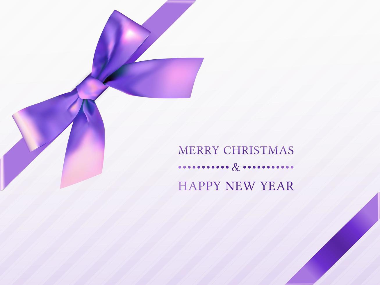 vue de dessus de boîte de cadeau de Noël avec ruban violet vecteur