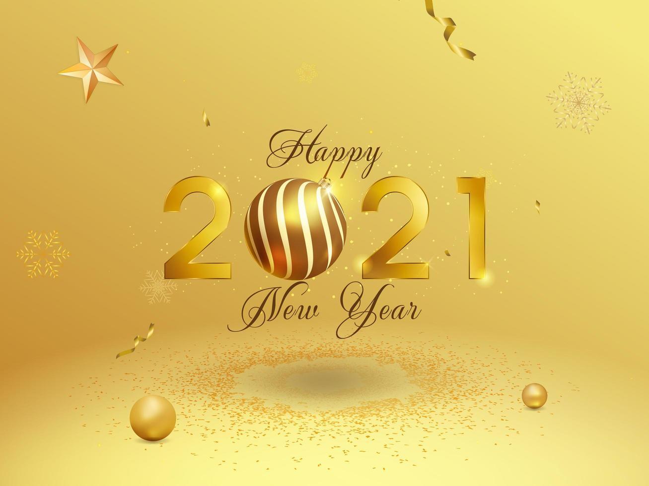 fond de nouvel an doré 2021 vecteur