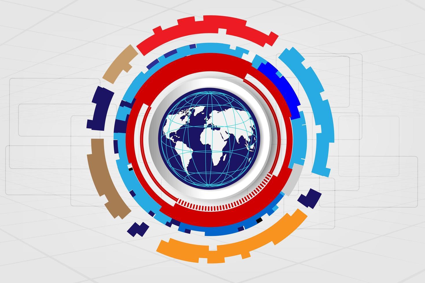 concept de technologie mondiale numérique, fond abstrait vecteur