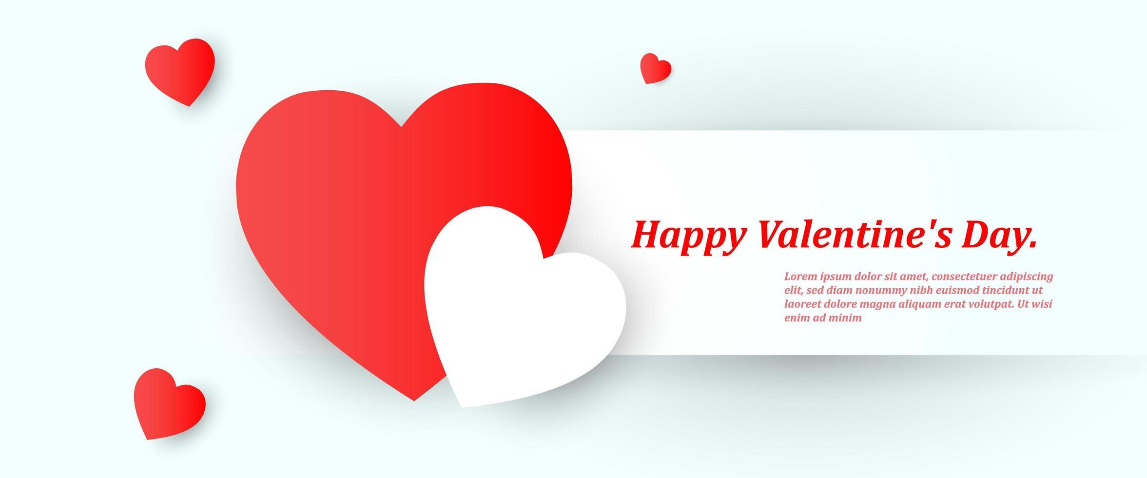 beau fond de saint valentin avec des coeurs rouges et blancs vecteur