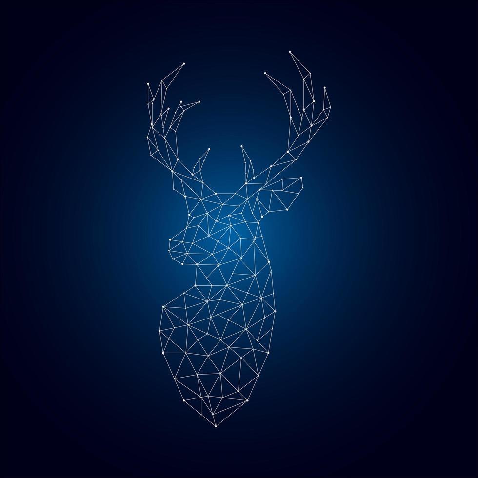 silhouette de cerf polygonale lumineuse sur fond bleu foncé. vecteur