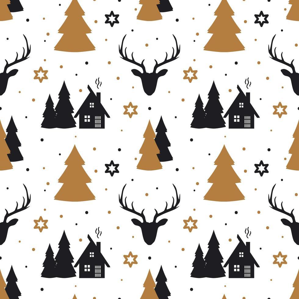 modèle sans couture de Noël avec des cerfs dans un style scandinave. vecteur