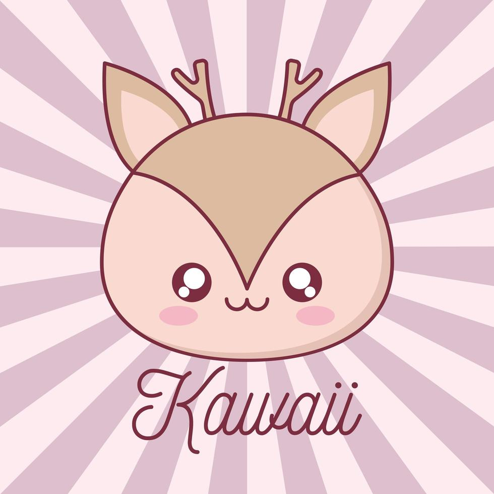 conception de dessin animé animal renne kawaii vecteur