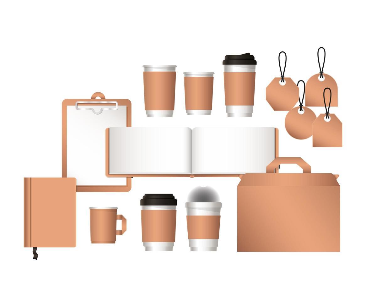 sac de maquette isolé et conception de tasses à café vecteur
