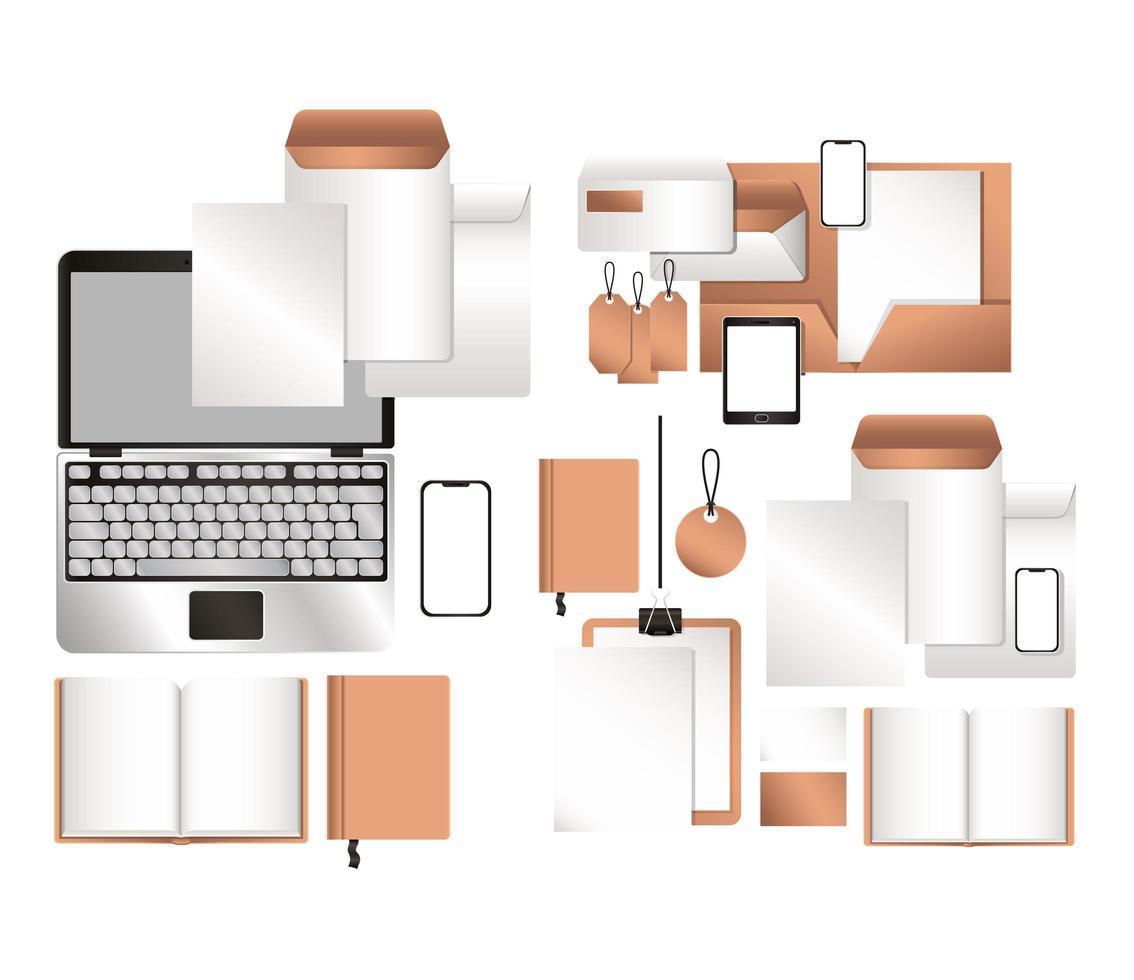 maquette ordinateur portable tablette smartphone et ensemble d'identité d'entreprise vecteur