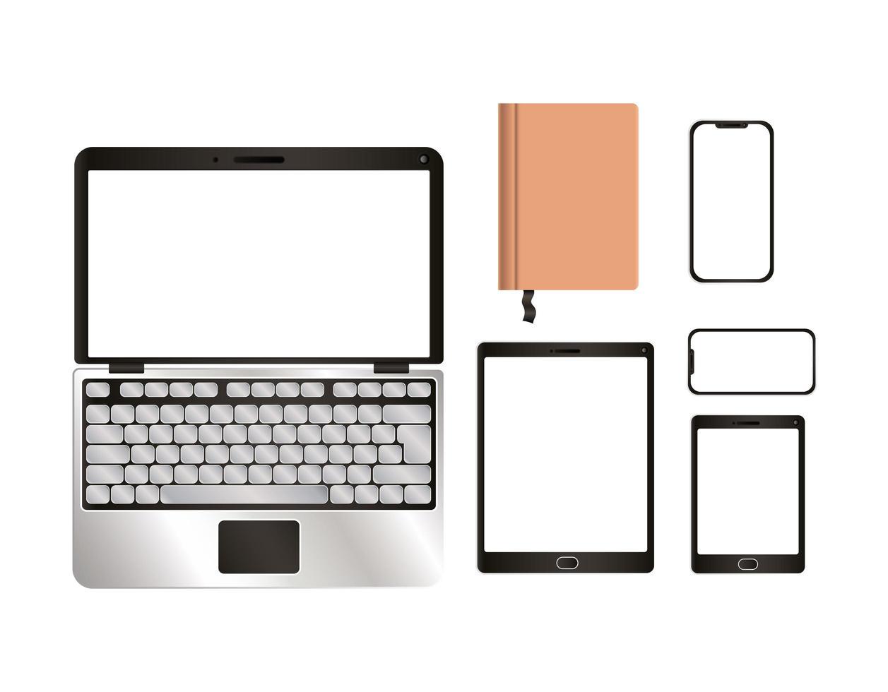 conception de smartphone et ordinateur portable maquette tablette ordinateur portable vecteur