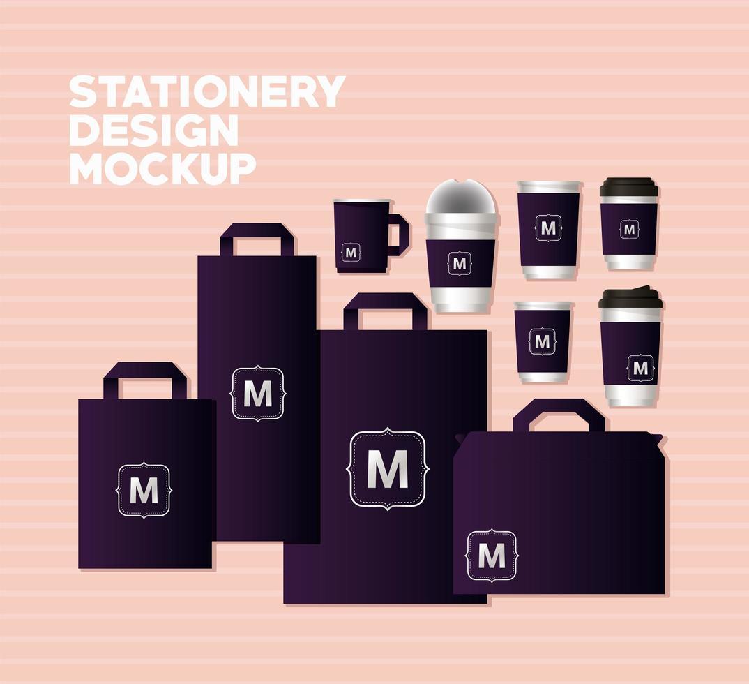 maquette de sacs et tasses avec violet foncé vecteur