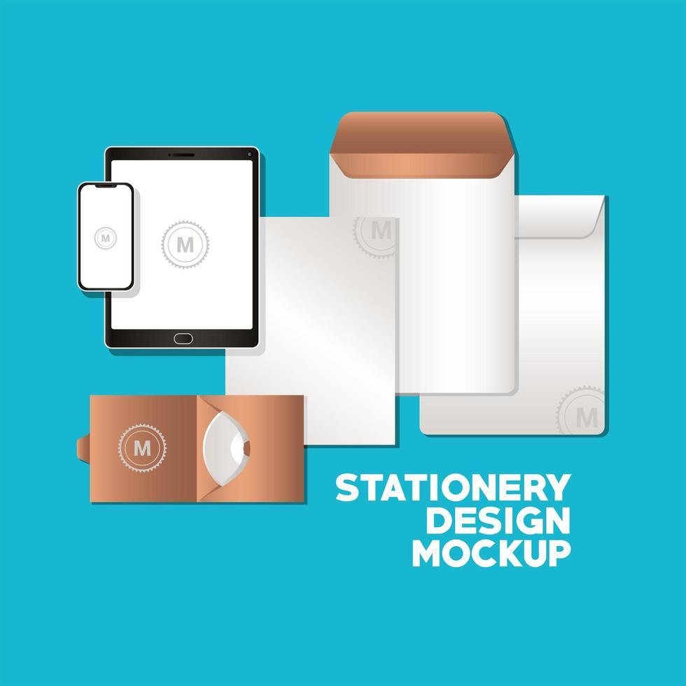 tablette avec smartphone et conception de maquette de marque vecteur