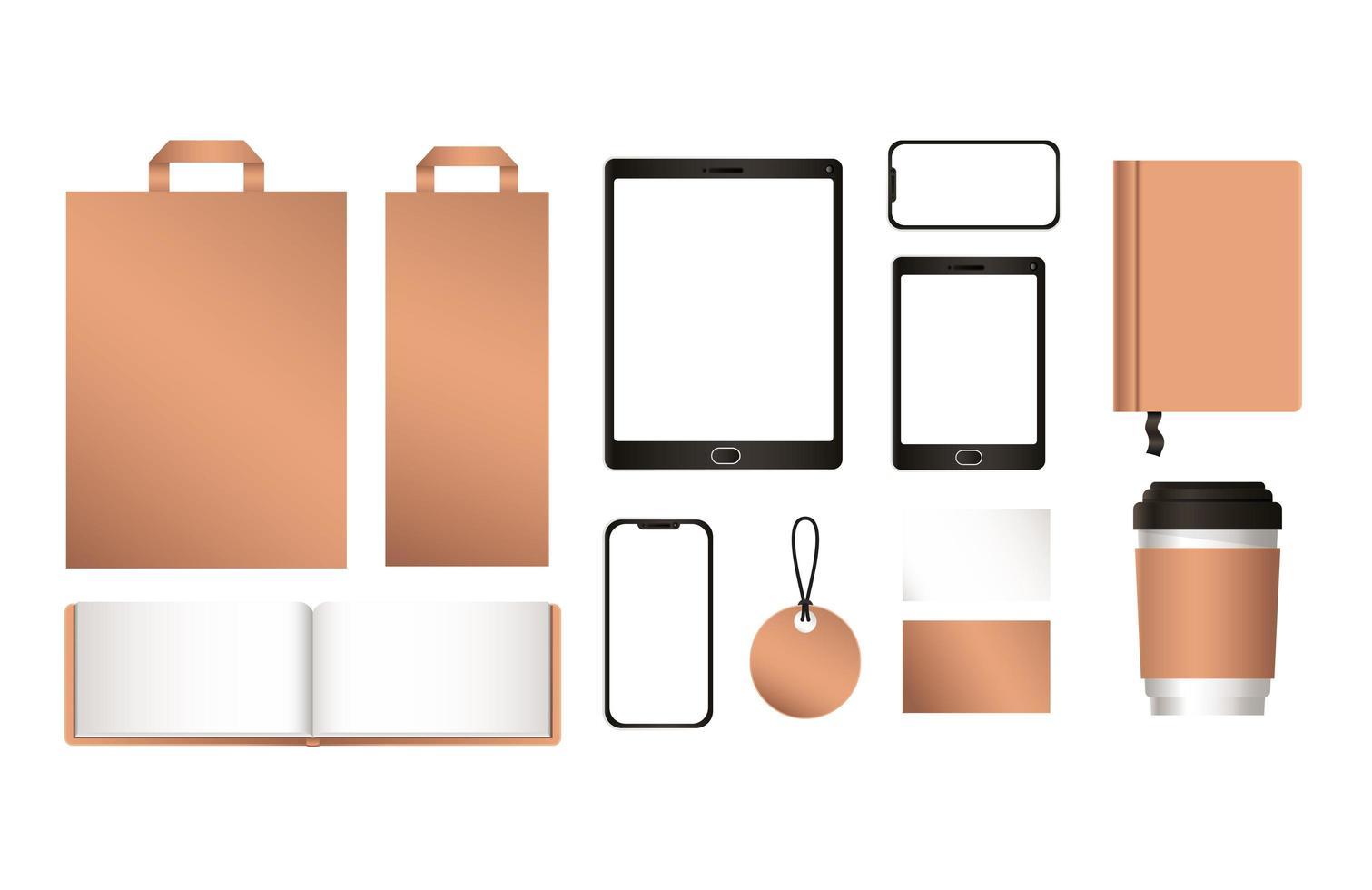 maquette de tablette avec smartphone et ensemble d'identité d'entreprise vecteur
