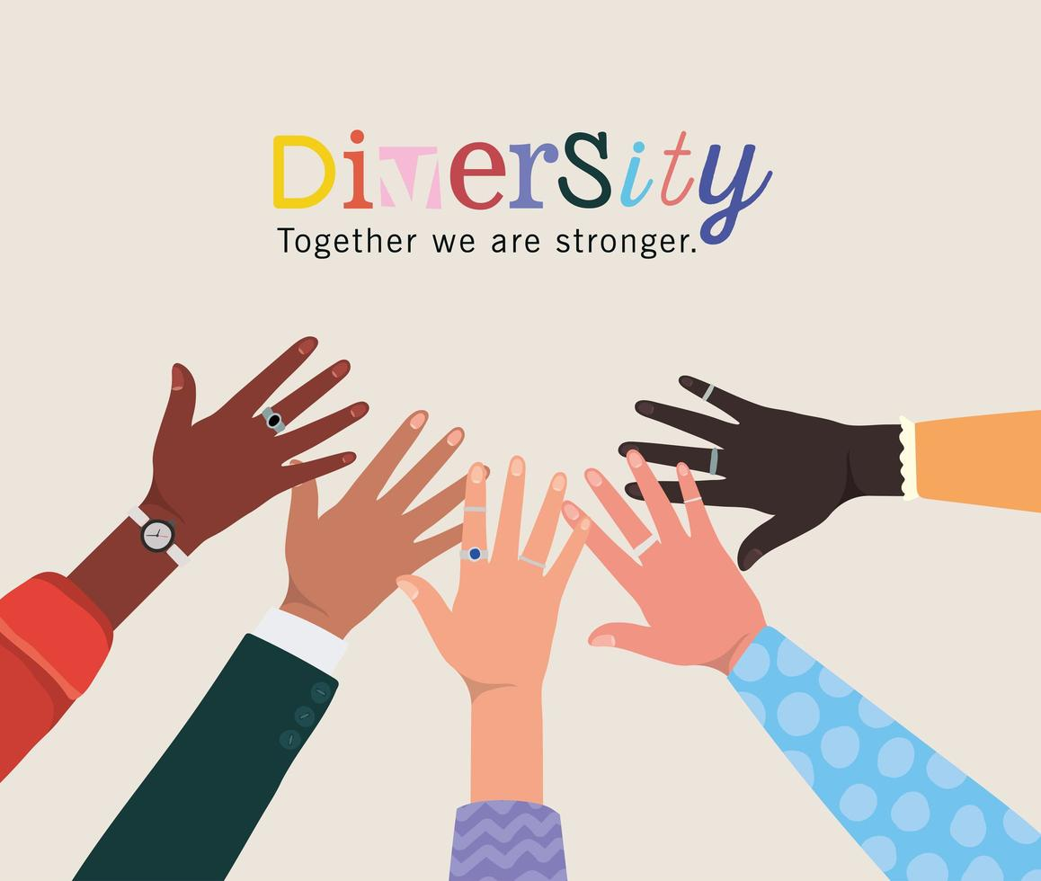 diversité ensemble, nous sommes plus forts et les mains se touchent vecteur