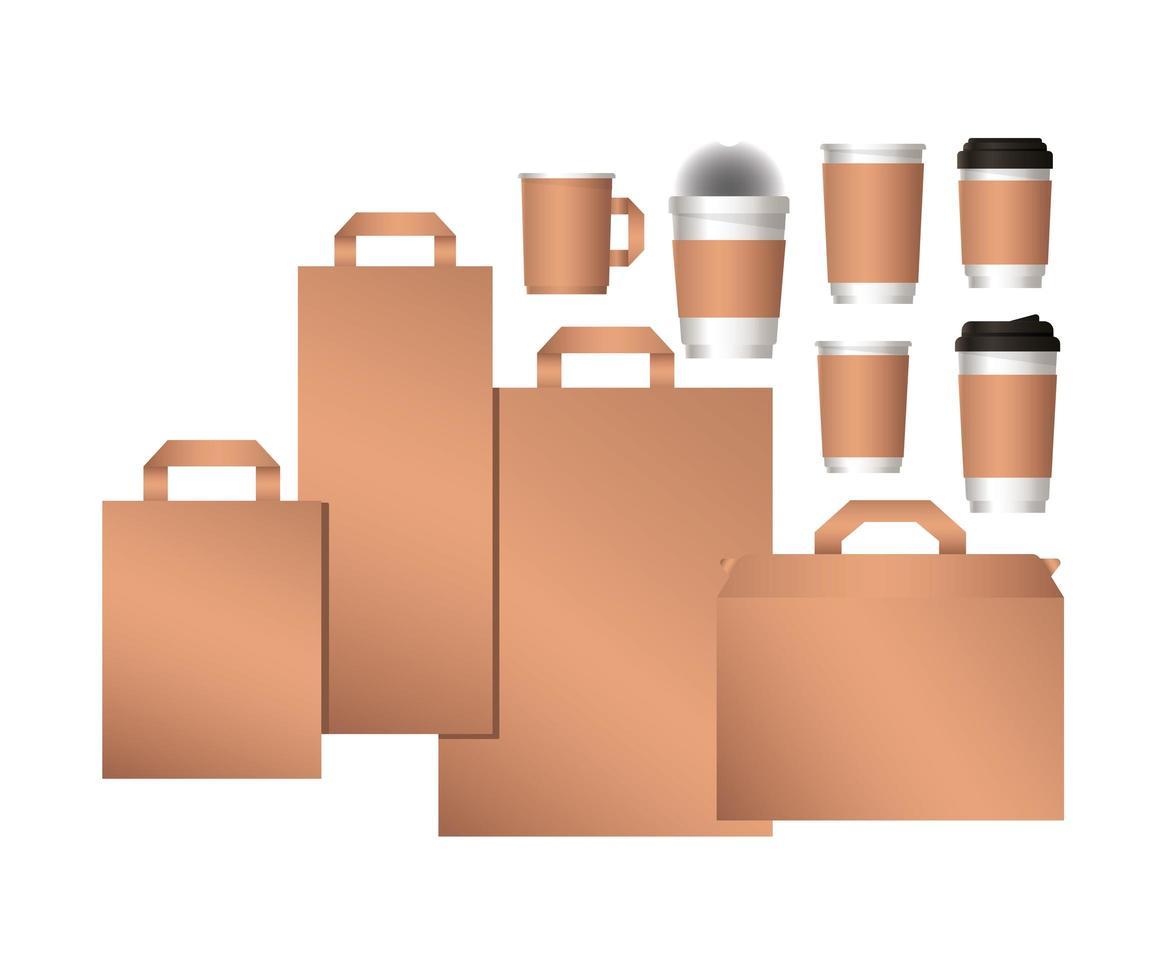 conception de sacs de maquette et de tasses à café vecteur