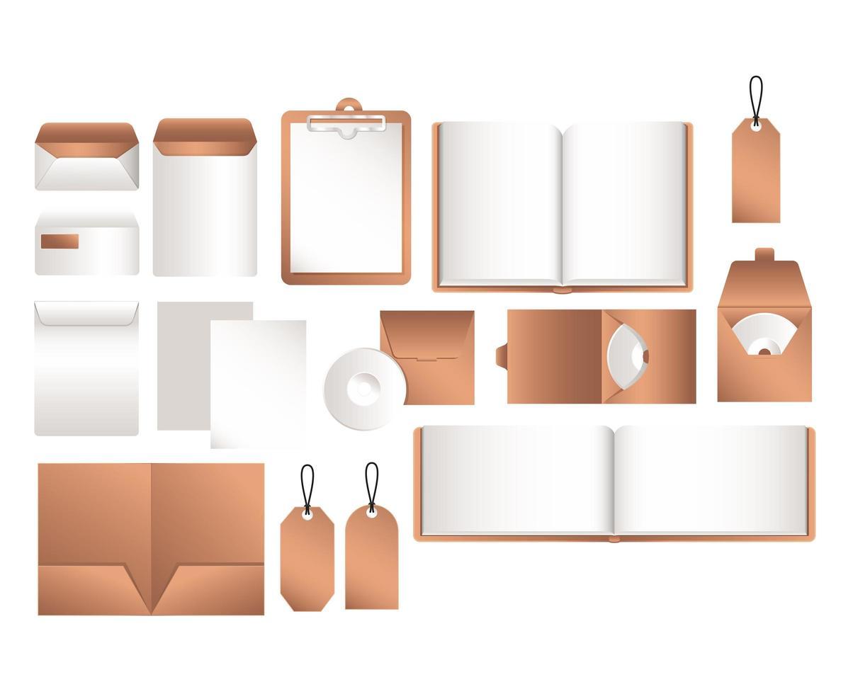 conception de fichier de maquette isolé et enveloppes vecteur
