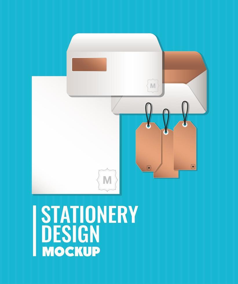 conception d'enveloppes et d'étiquettes de maquette de marque vecteur