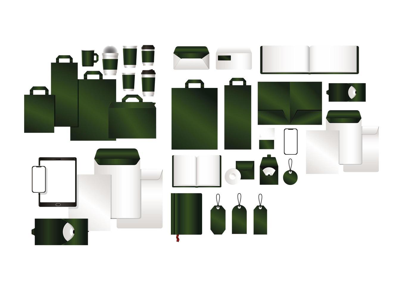 maquette avec un design de marque vert vecteur