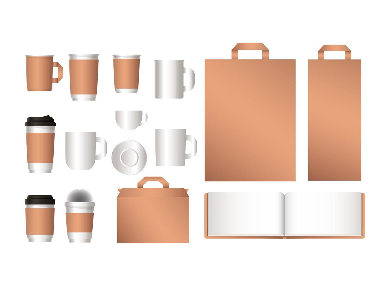 maquette de sacs pour ordinateur portable et de tasses à café vecteur
