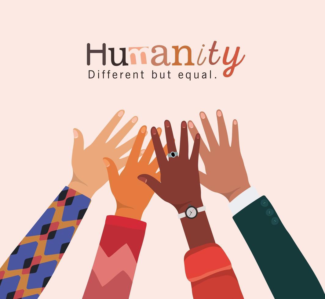 humanité différente mais égale et diversité des mains vecteur