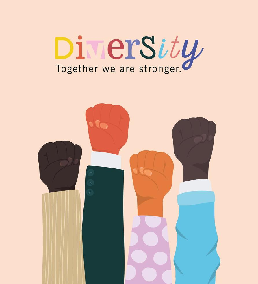 diversité ensemble nous sommes plus forts et les poings mains vecteur