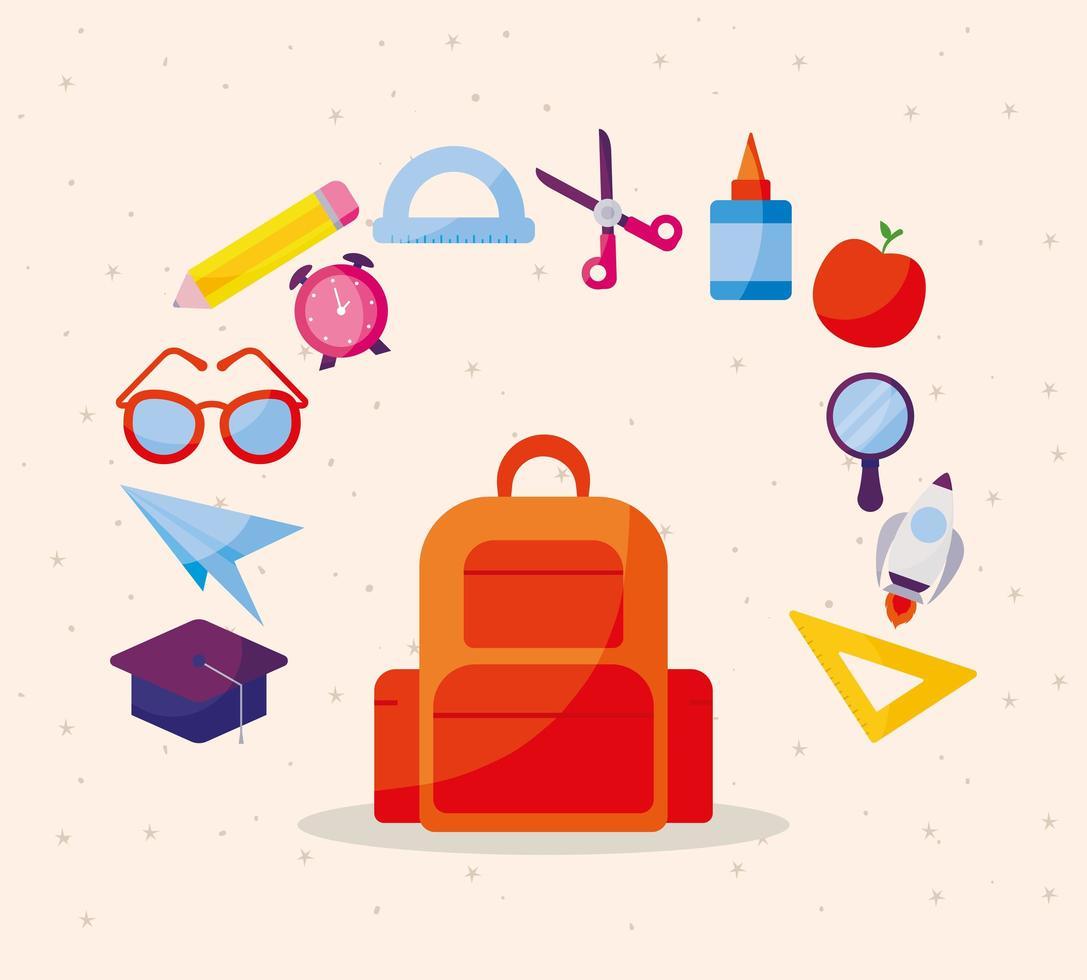 sac avec jeu d & # 39; icônes de retour à l & # 39; école vecteur