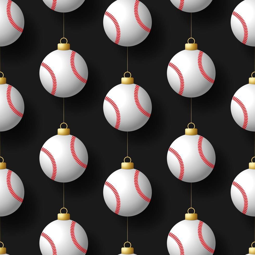 Noël suspendu modèle sans couture d'ornements de baseball vecteur