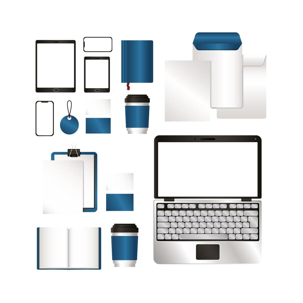 maquette avec un design de marque bleu vecteur