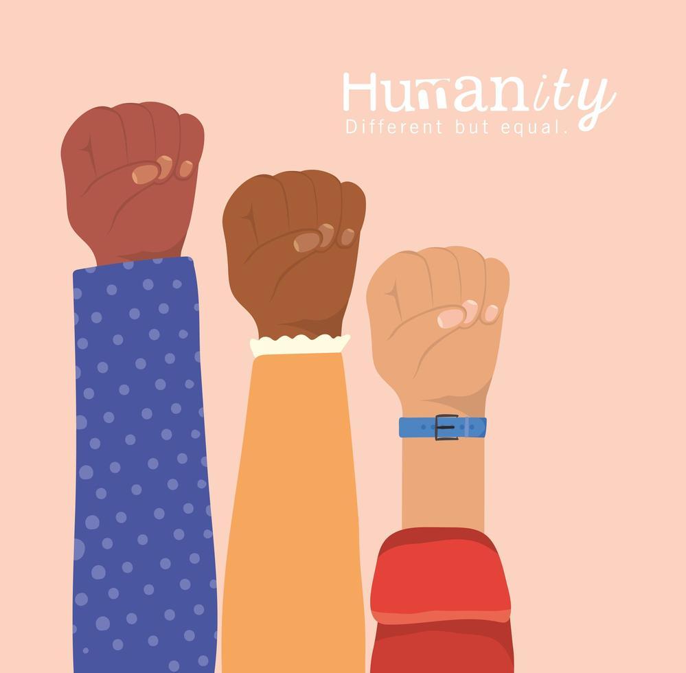 humanité différente mais égale et diversité des poings vecteur