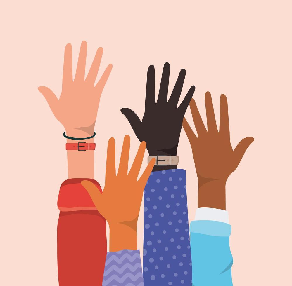 ouvrir les mains de différents types de peaux vecteur