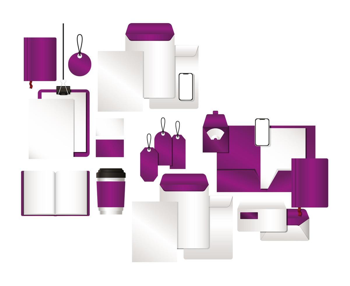 maquette avec un design de marque violet vecteur