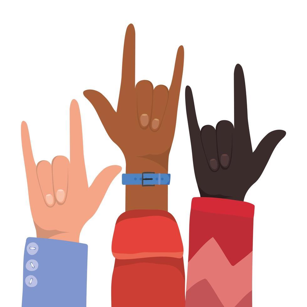 signe de roche avec les mains de différents types de peaux vecteur