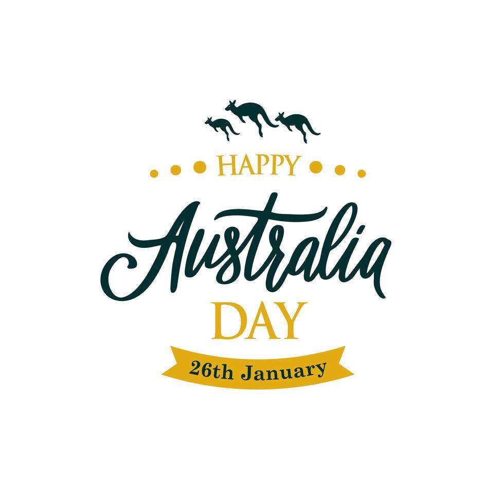 bannière de voeux joyeux jour australie avec kangourou. vecteur
