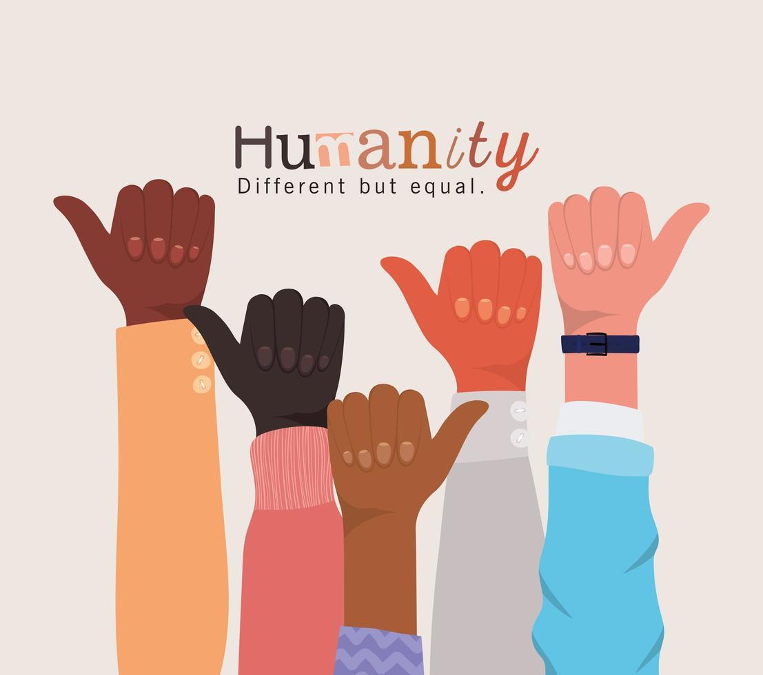 humanité différente mais égale et diversité comme des mains vecteur