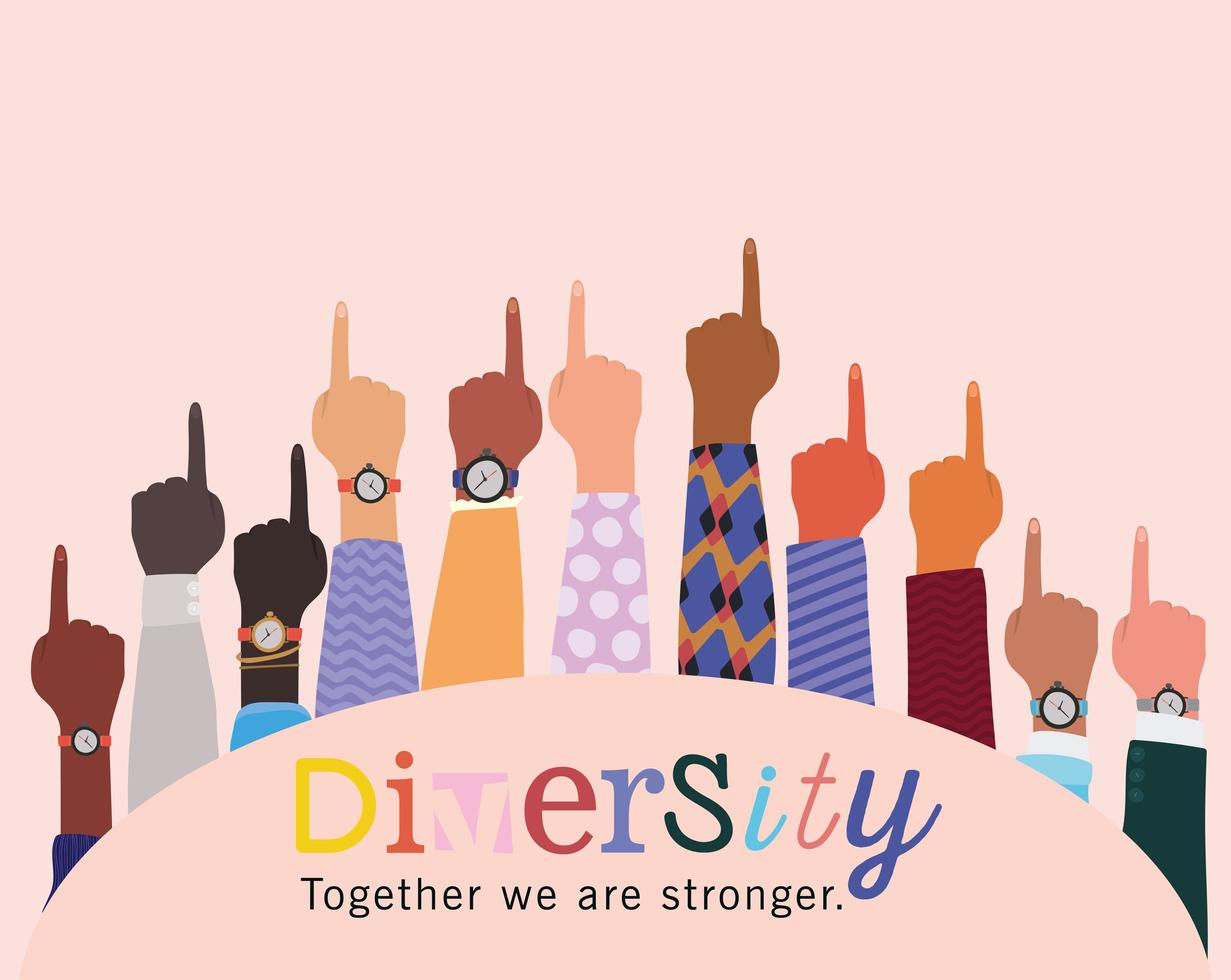 diversité ensemble nous sommes plus forts et plus nombreux vecteur