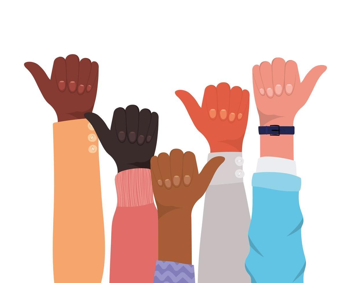 comme signe avec les mains de différents types de peaux vecteur