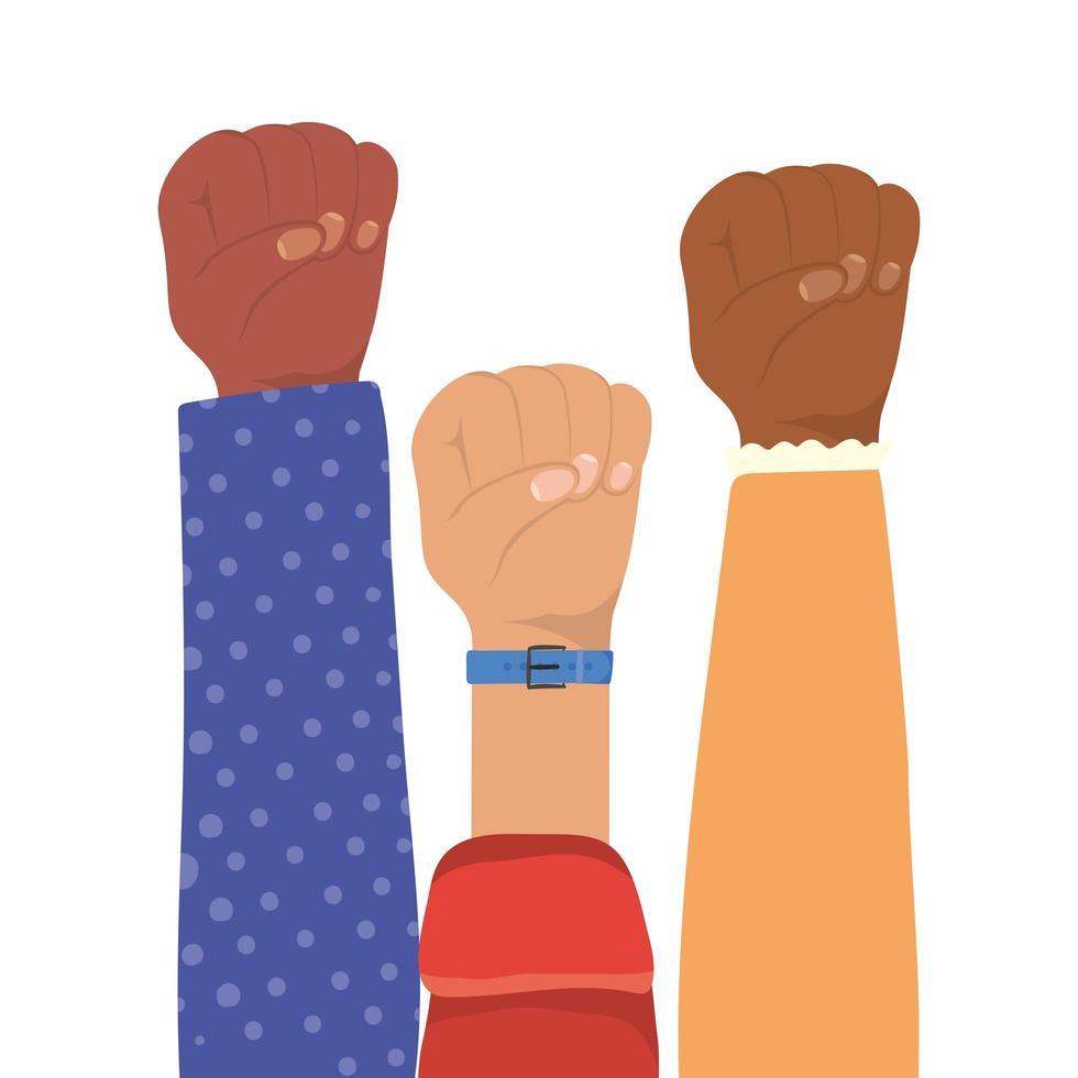 signe de poing avec les mains de différents types de peaux vecteur