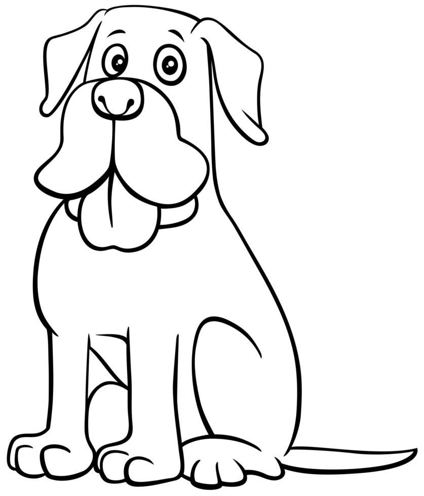 Page de livre de couleur de personnage de dessin animé de chien vecteur