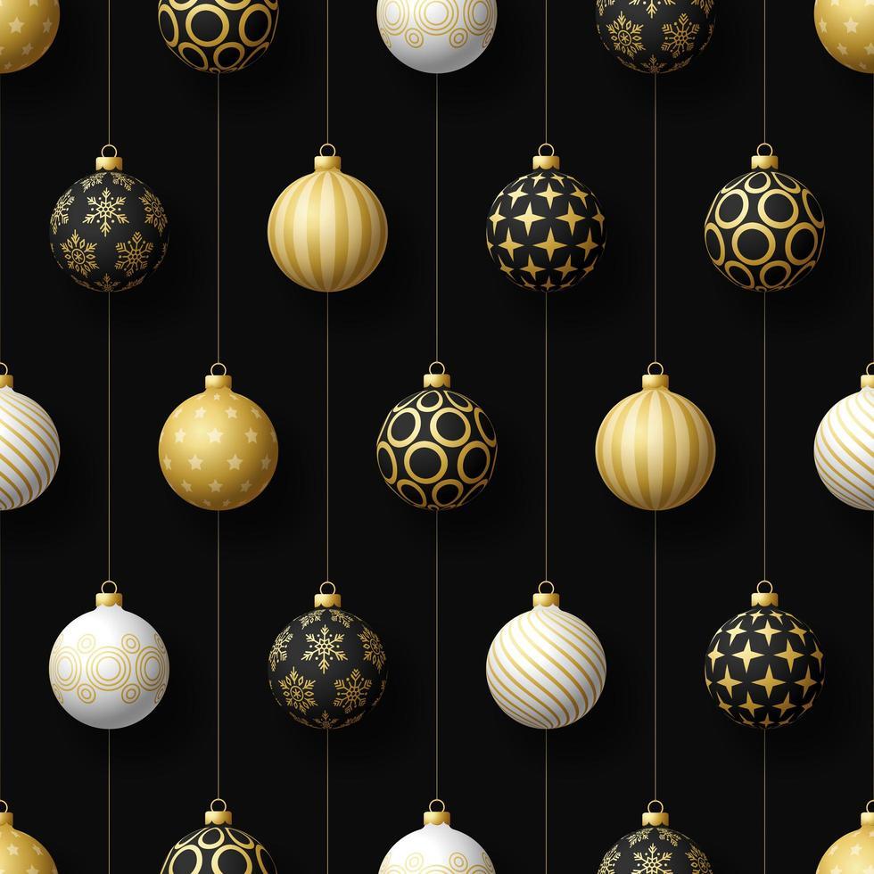 Noël noir, blanc, or ornements suspendus modèle sans couture vecteur