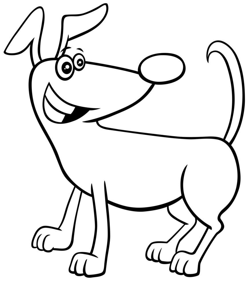 dessin animé, chien, caractère, livre coloration, page vecteur