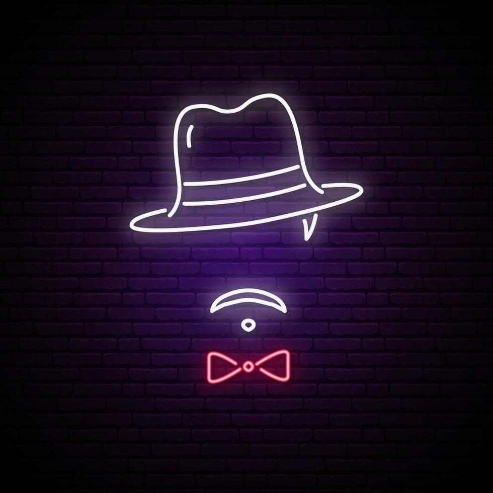 enseigne au néon de l & # 39; homme au chapeau vecteur