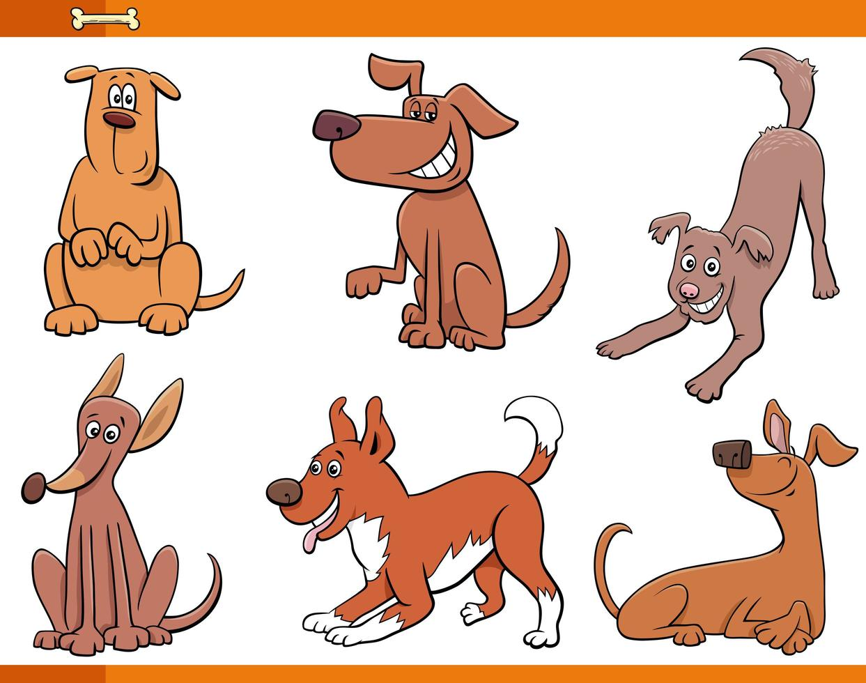chiens et chiots ensemble de personnages animaux heureux vecteur