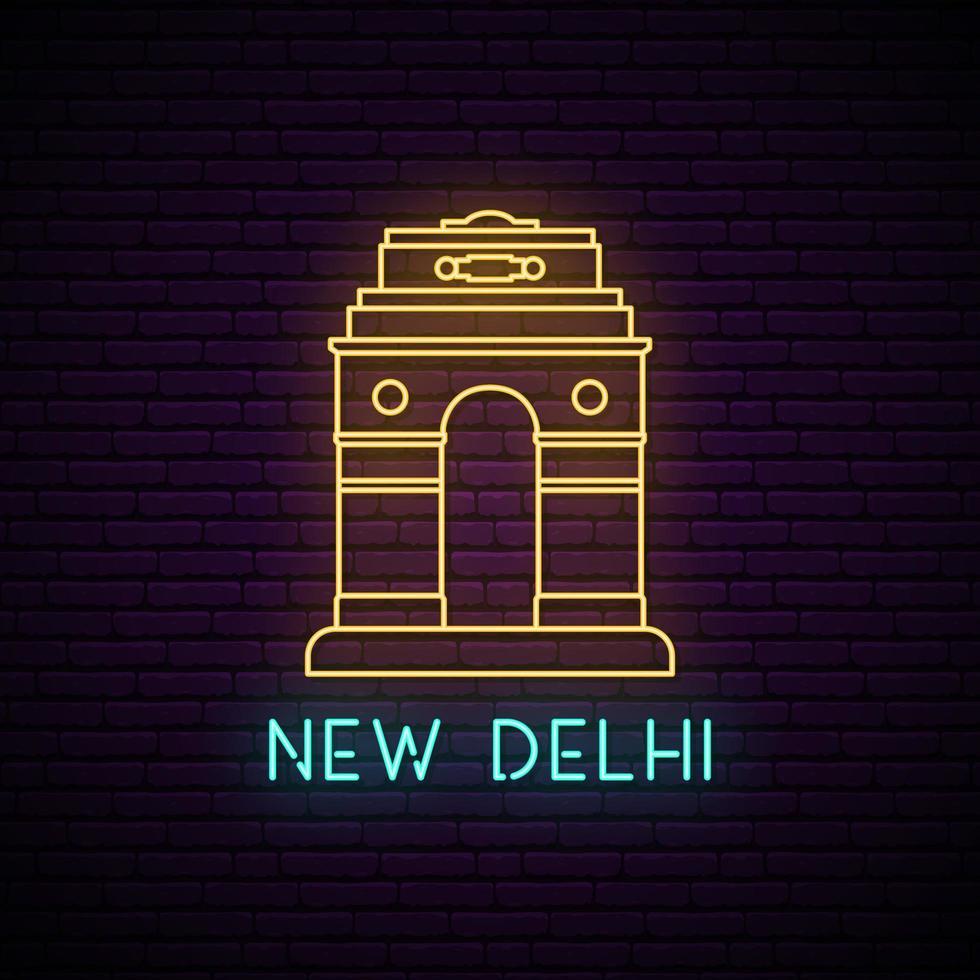 enseigne au néon delhi gate. vecteur