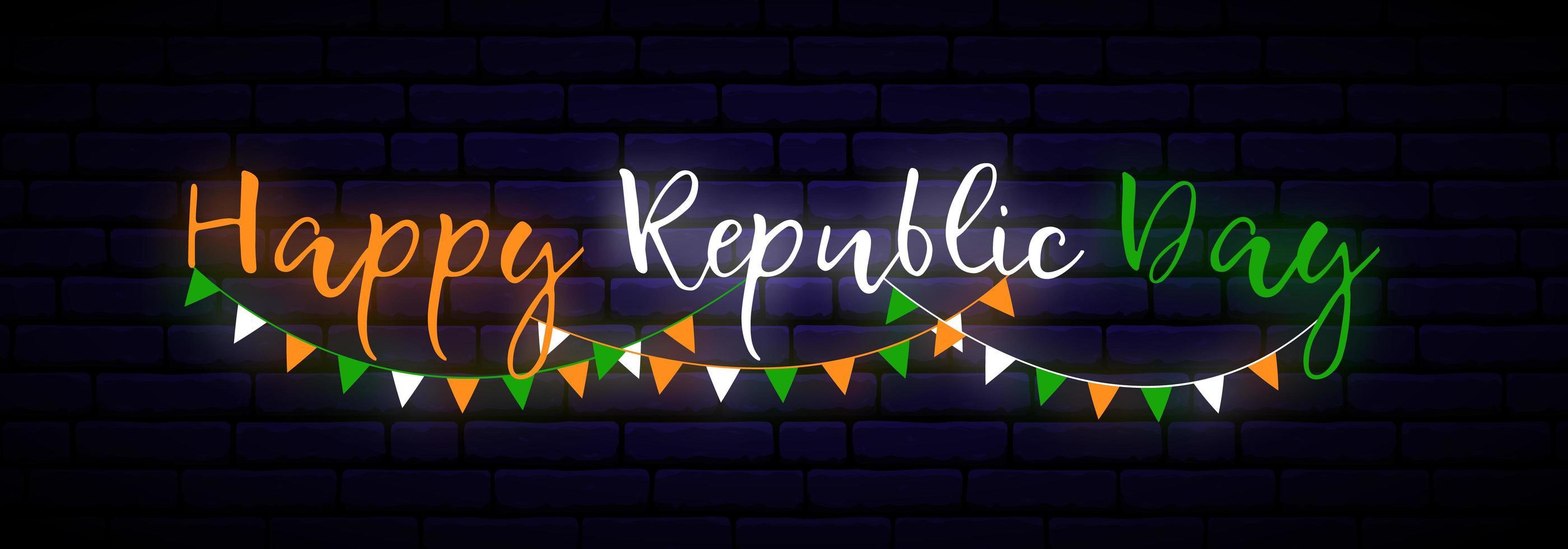 bonne bannière horizontale de néon de jour de la république de l'Inde. vecteur