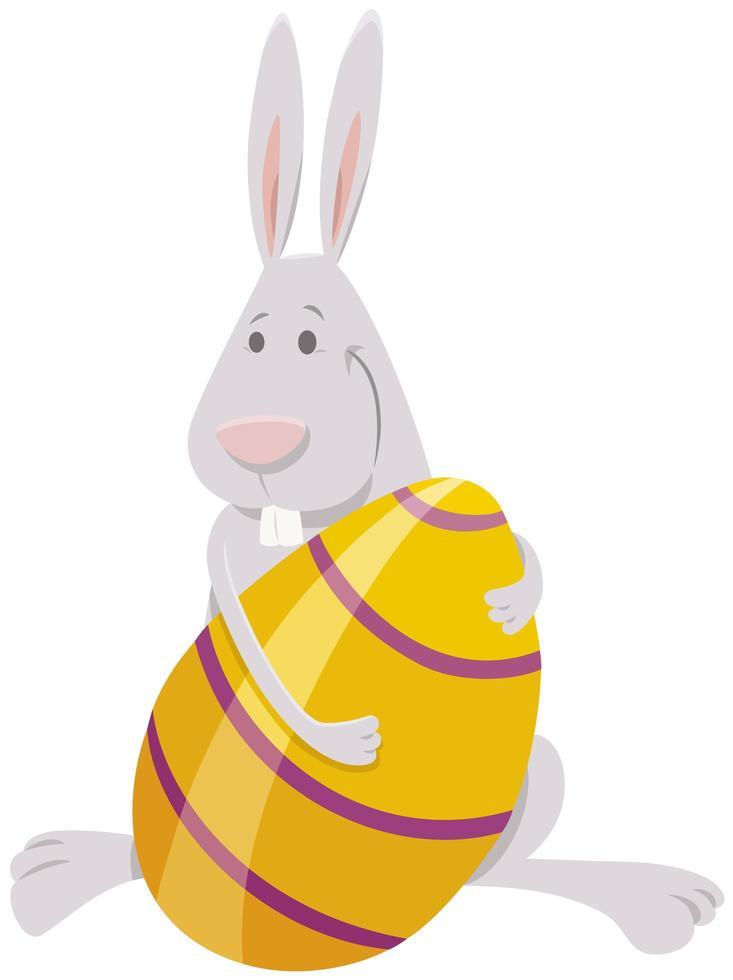 dessin animé, lapin pâques, à, grand, oeuf coloré vecteur