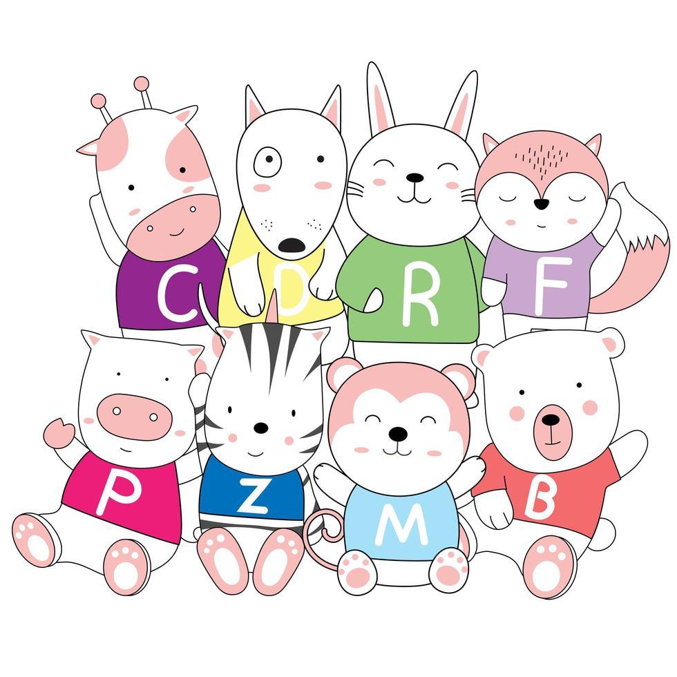 dessin animé, dessin animé, de, mignon, bébé animaux, dans, chemises vecteur