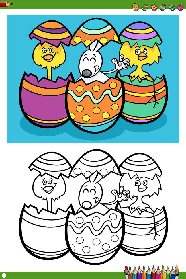 Page de livre de coloriage de personnages de vacances de Pâques vecteur