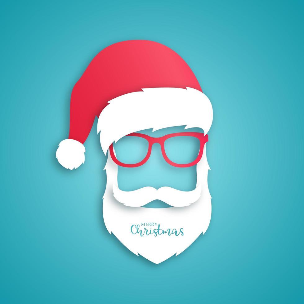 Père Noël en papier avec chapeau rouge et lunettes vecteur