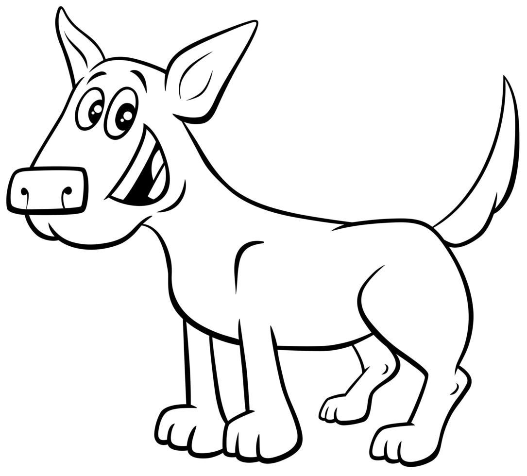 dessin animé, chien ou chiot, livre coloration, page vecteur