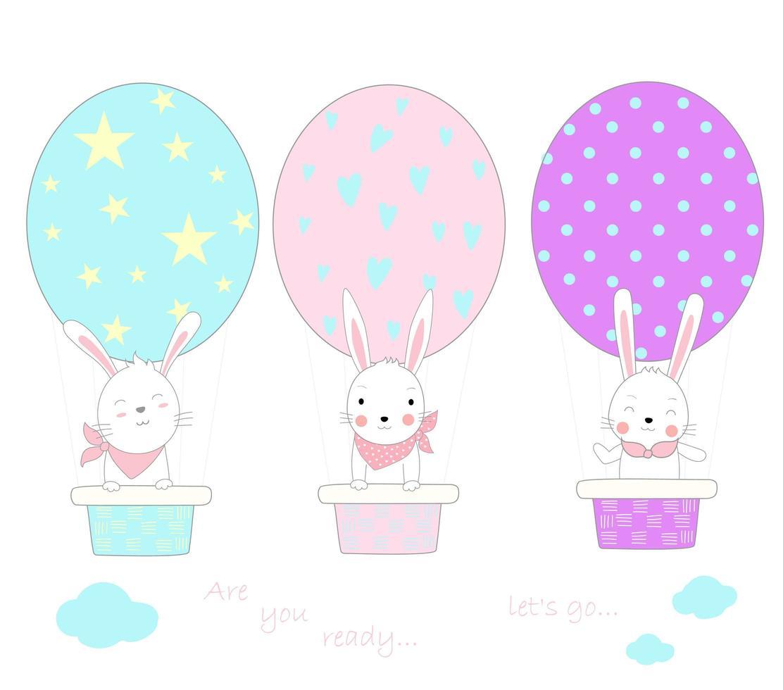 Adorables bébés lapins avec ballon à air en forme d'oeuf vecteur