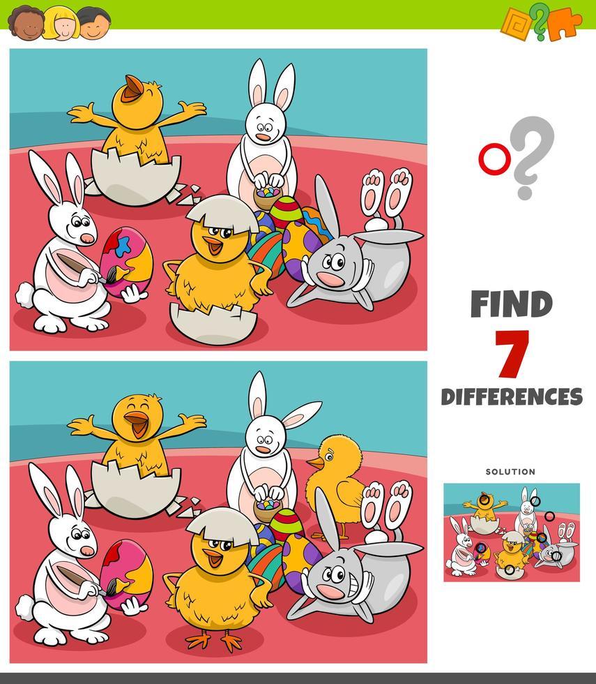 jeu de différences avec des personnages de Pâques comiques vecteur