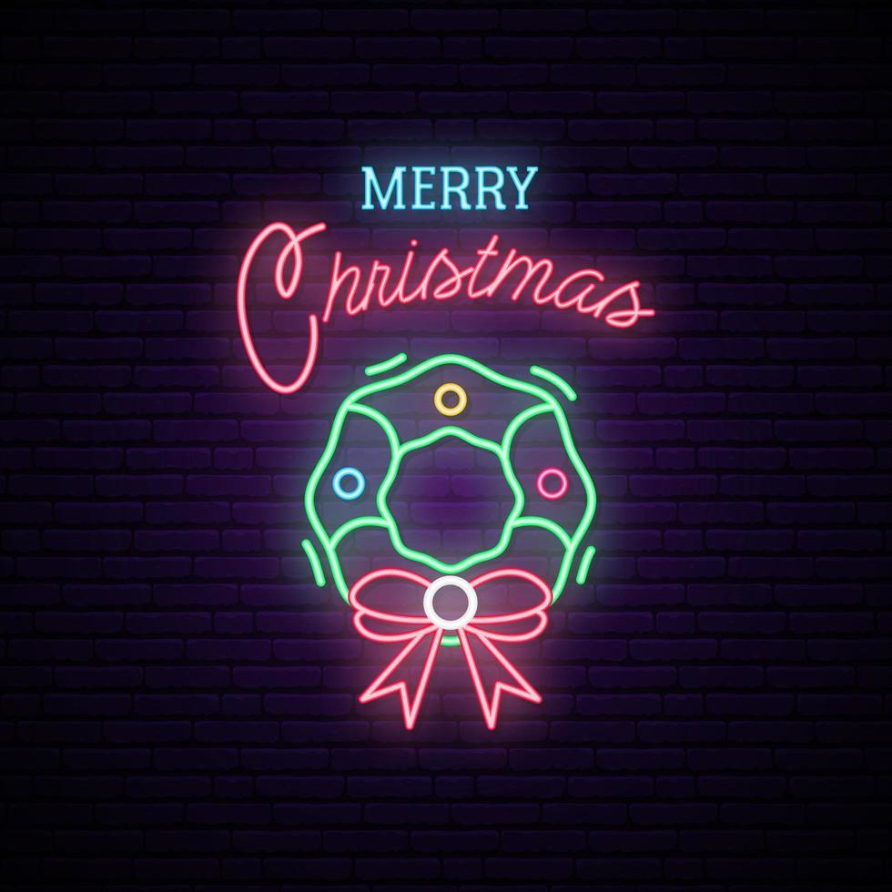 enseigne au néon de guirlande de Noël. vecteur